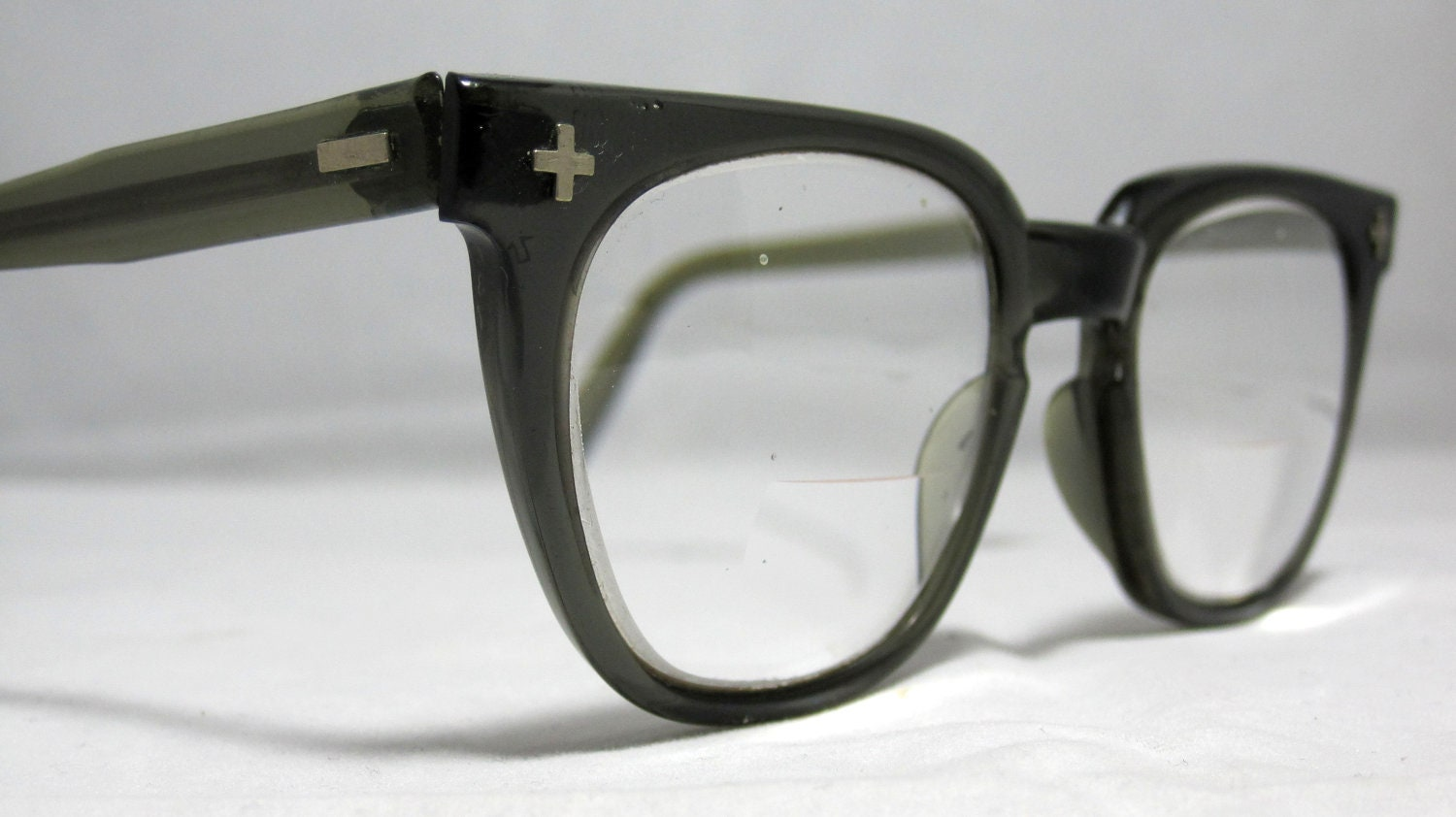 vintage mens eyeglasses gray horn by collectablespectacle