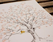 Fingerprint Tree Wedding Guest Book Alternative, Original Hand-drawn Medium Twisted Oak Design (ink pads sold separately)