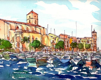 La Ciotat France art print from an original watercolor painting