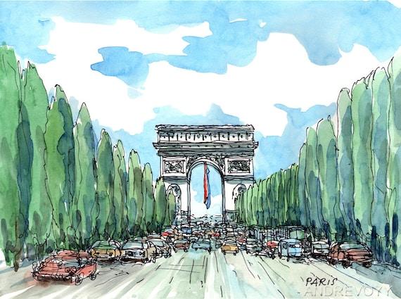 Paris Champs-Elysees art print from an original watercolor painting