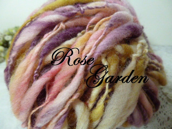 Handspun art yarn thick n thin singles USA wool 85 yds extra extreme thick n thin Rose Garden