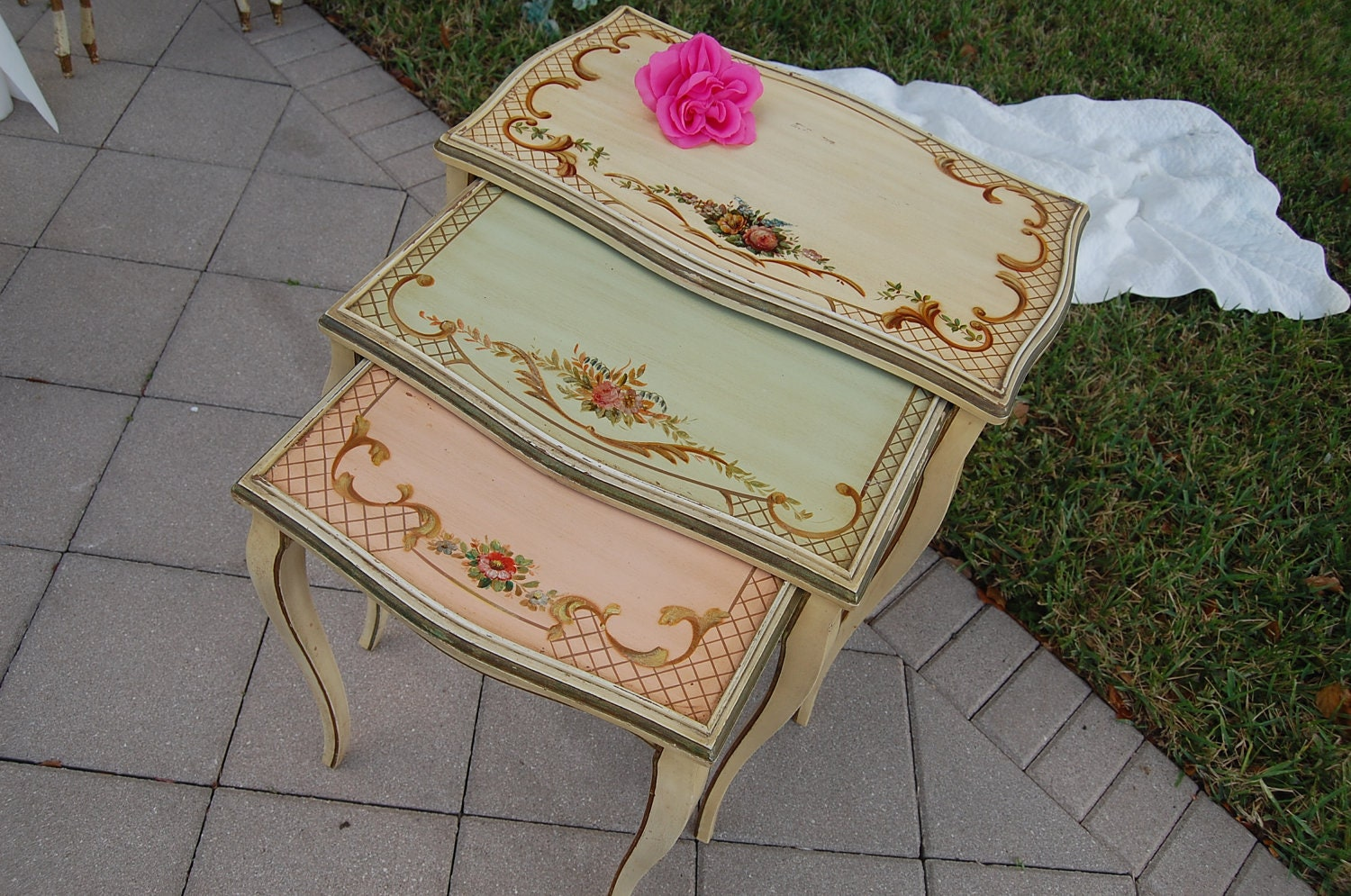Handpainted shabby chic nesting tables cottage style at retro