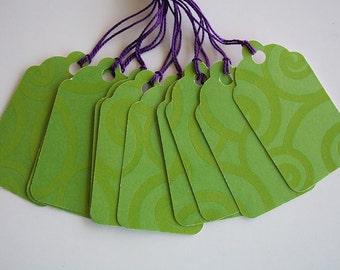 Green Glossy Swirl Gift Tags (10)
