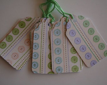 Glittered Baby Button Striped Gift Tags (10)