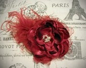 Red Couture Flower Clip or Headband