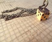 FREE Shipping vintage large bakelite dice filigree brass steampunk necklace