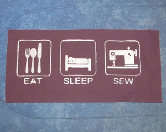 Eat, Sleep, Sew - Big Silksceen Back or Bag Patch, White ink on Purple Canvas