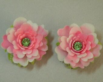 Rose & Peridot Flower Earrings
