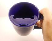 Mustache Mug, Cobalt Blue Cup - Handlebar Mustache- Made to Order