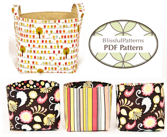 Easy to Sew Fabric Bin PDF Sewing Pattern - two sizes - FREE Shipping - by BlissfulPatterns