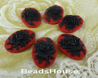 90s-00-CA 6pcs (13x18 mm) Beautiful Oval Rose Cameo-Black Rose on Red