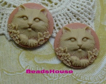 627-02-28-CA  6pcs Beautiful Kitten Cabochon Cameo 25 mm-Almond on Pink