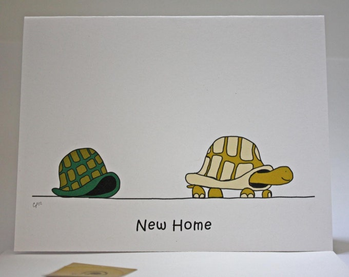 New Home Turtle Drawing Card, can be used as we've moved announcement, comes with envelope and seal, made on recycled paper