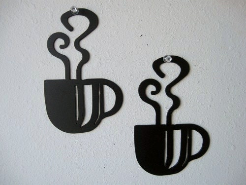 Coffee Metal Wall Art coffee cup wall art duo metal wall decoration