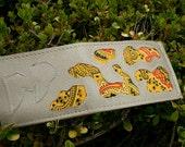 Silver Vinyl Yellow Bandana Patchwork Wallet