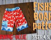 Charming-Ollie adjustable waist  FISHER BOARD shorts pdf pattern 4 5 6 7 8 bOy GiRL short