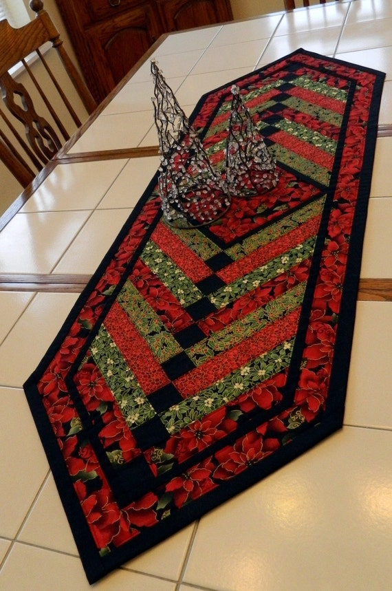 Handcrafted Large Pointsettia Amp Holly French Braid Quilted