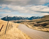 Country Road to Snowy Mountains Landscape Photograph, Western Mountains Photography