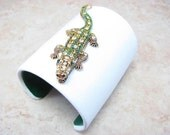 Jeweled Alligator / Gator Cuff Bracelet - Crystal Crocodile - Green and White Leather - 3 Inch Designer Cuff Jewelry - Louisiana - Florida