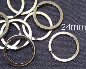 20 pcs / 24 mm Silver Plated Split Ring For KeyChain