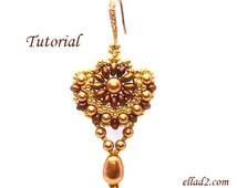 Tutorial Sunflower Earrings - Beading tutorial PDF