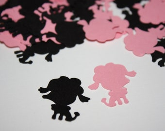 200 pieces Pink and Black Poodle Die Cut Confetti Table Decor