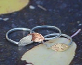 Leaf rings, sterling, copper and brass