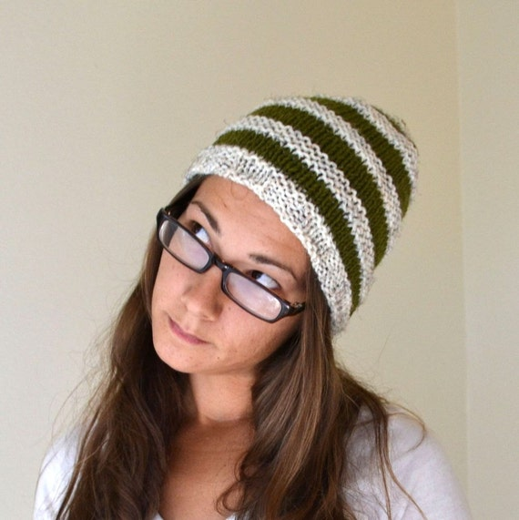 Knit Hat Woodland Stripe Beanie Cap Olive Green and White