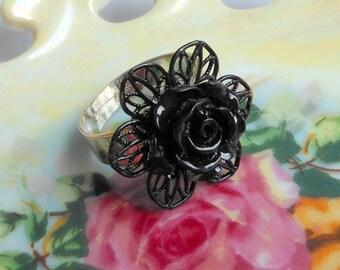 Vintage Flower Ring,Black Peony Cabachon Ring,Breakfast at Tiffanys Ring,Silver Adjustable Ring