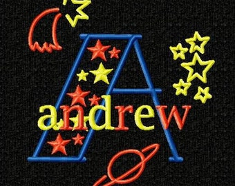 Outer Space Monogram Font Alphabet - machine Embroidery Designs