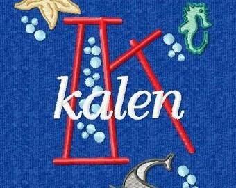 Sea Life Monogram Font Alphabet - Machine Embroidery Designs