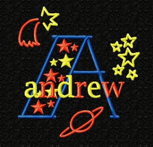 Outer space monogram font alphabet machine embroidery for Space embroidery patterns