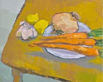 Still Life- Simple Fare- 12x12 Original Oil Painting- Lemon, Carrot, Garlic, Onion Still Life
