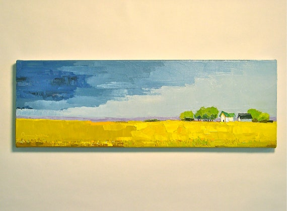 And the Rains Came - Original Oil Painting on Canvas - 8x24 - Farm, Landscape