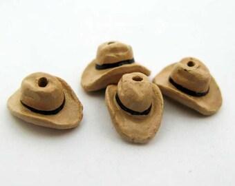 4 Tiny Tan Cowboy Hat Beads - CB678