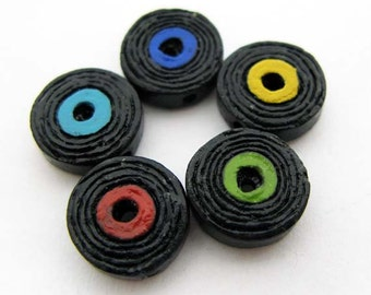 4 Tiny Record Beads