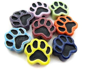 4 Ceramic Beads - Large Mixed Cat Paw Beads - LG622