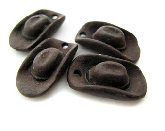 4 Large Brown Cowboy Hat Beads