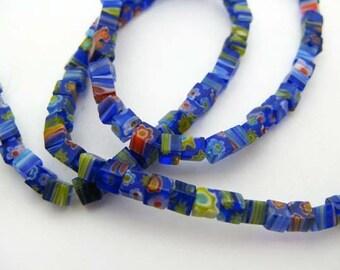 Tiny blue cube Millefiori Beads - CG257