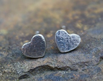 Tiny Silver Heart Studs, Love Tokens