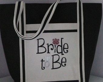 Custom Tote Embroidered Soon To Be Tote for Bride, Accessory, Free Shipping