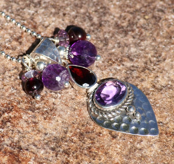 Amethyst Necklace, Garnet Jewelry, Hammered Sterling Silver Necklace, Semi Precious Stone Necklace