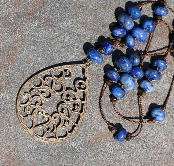 Bohemian Blue Necklace, Natural Lapis Lazuli, Bronze Filigree Pendant, Natural Stone, Spring, Summer