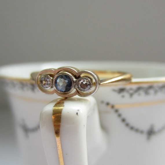 Art Deco Engagement Ring. Three Stone Sapphire and Diamonds. Addy on Etsy.