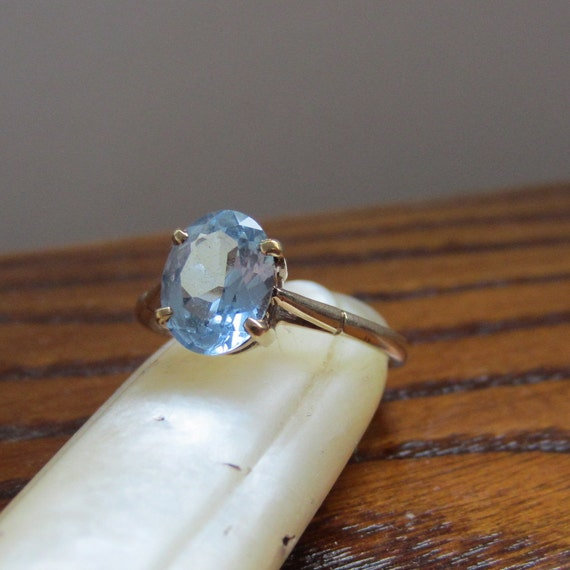 Vintage Blue Topaz Ring. Yellow Gold. Something Blue. 1950s. Addy on Etsy.