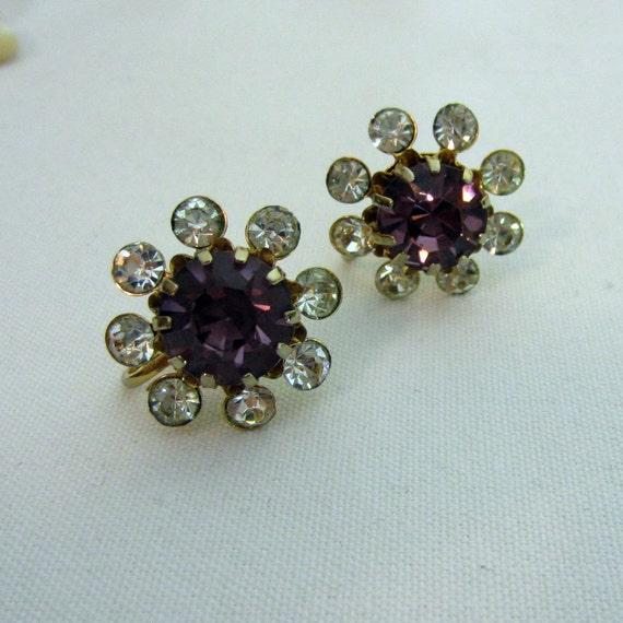 Vintage Coro Rhinestone Earrings. Purple. Gold Tone. Addy on Etsy.