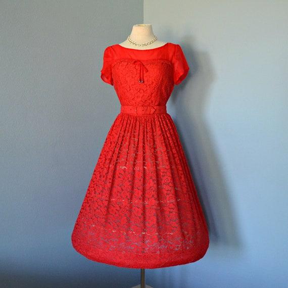 Vintage 1950s Red Cocktail Dress Valentine Red Osgood