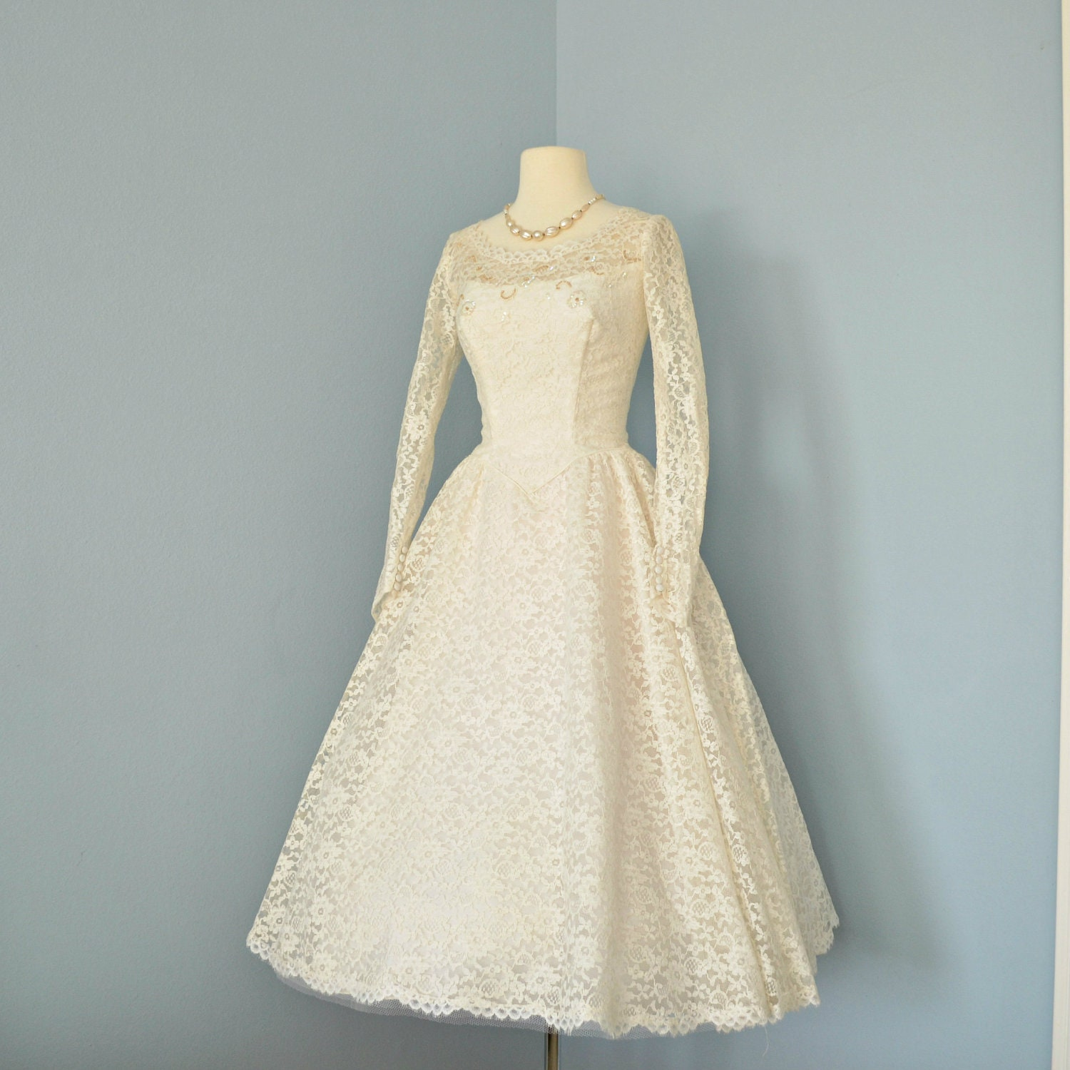 Vintage wedding dress beautiful 1950s cream lace tea by deomas