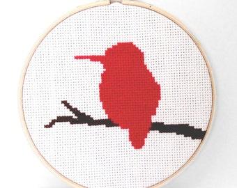 Finished Cross Stitch Wall Art - Hummingbird on Branch