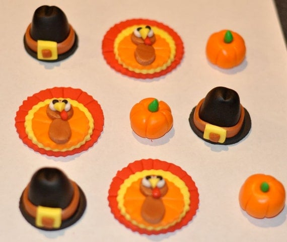 Items similar to Thanksgiving Fondant Cupcake, Cake or ...